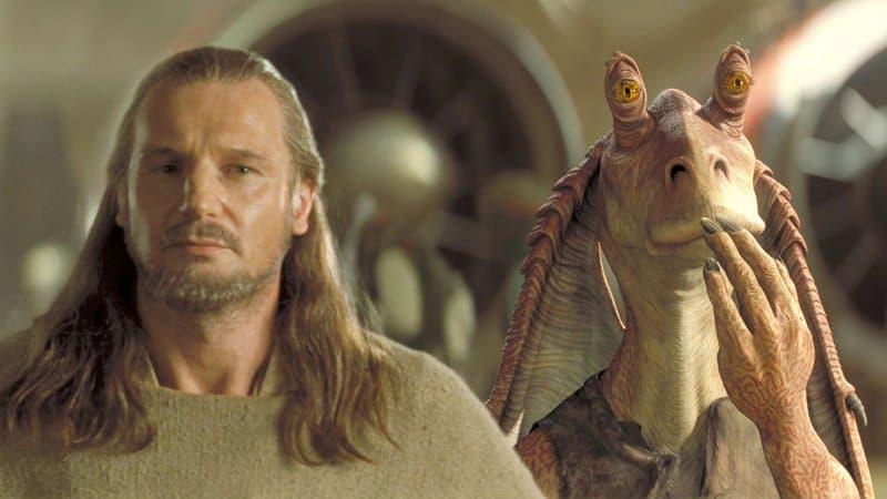 Liam-Neeson-dans-Star-Wars-episode-I-La-Menace-fantome-1999-aux-cotes-de-Jar-Jar-Binks-396872