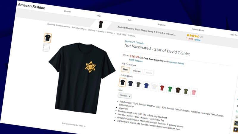 """Un t-shirt avec une étoile jaune pour se revendiquer """"non vacciné"""" vendu sur Amazon"""