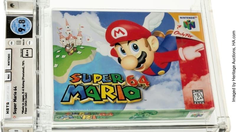Photo-non-datee-diffusee-le-11-juillet-2021-par-Heritage-Auctions-d-une-cartouche-du-jeu-Super-Mario-64-1066124